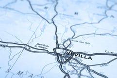 Mapa de Sevilha Imagem de Stock Royalty Free