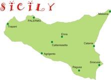 Mapa de Sicília Imagem de Stock