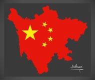 Mapa de Sichuan China con el ejemplo chino de la bandera nacional Imagenes de archivo