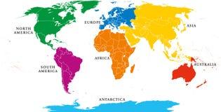 Mapa de siete continentes con las fronteras nacionales Imagen de archivo