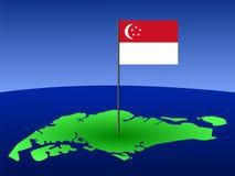 Mapa de Singapore com bandeira ilustração stock