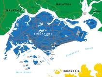 Mapa de Singapura Ilustração Stock