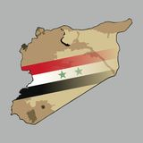 Mapa de Siria con una central siria de la bandera Imágenes de archivo libres de regalías