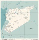 Mapa de Siria - ejemplo detallado del vector del vintage Imágenes de archivo libres de regalías
