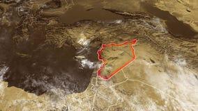 Mapa de Siria y de las fronteras, mapa físico Oriente Medio ilustración del vector