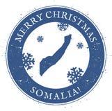 Mapa de Somalia Feliz Navidad Somalia del vintage stock de ilustración