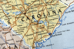 Mapa de South Carolina Fotografia de Stock