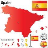 Mapa de Spain Imagens de Stock Royalty Free