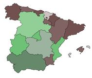 Mapa de Spain Fotos de Stock Royalty Free