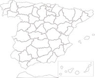 Mapa de Spain Fotos de Stock Royalty Free