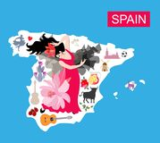 Mapa de Spain Ilustração do curso com a menina do dançarino do flamenco, o touro preto, o moinho, o cacto, a guitarra, o tomate e ilustração stock