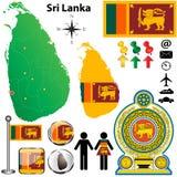 Mapa de Sri Lanka Fotografia de Stock Royalty Free
