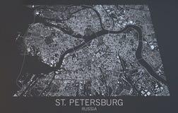 Mapa de St Petersburg, visión por satélite, Rusia Fotografía de archivo libre de regalías