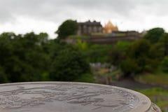Mapa de Stirling Old Town en piedra con Stirling Castle Foto de archivo libre de regalías
