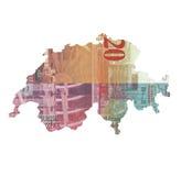 Mapa de Suíça feito da nota de 20 francos ilustração stock