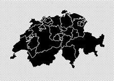 Mapa de Suiza - mapa negro detallado del alto con los condados/las regiones/los estados de Suiza mapa de Suiza aislado en transpa libre illustration