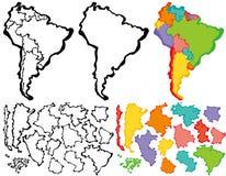Mapa de Suramérica con el movimiento del cepillo Imágenes de archivo libres de regalías