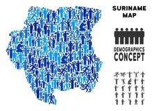 Mapa de Suriname del Demographics libre illustration
