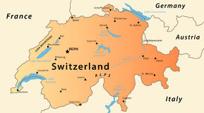 Mapa de Switzerland Foto de Stock Royalty Free