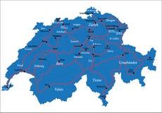 Mapa de Switzerland Fotografia de Stock Royalty Free