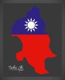 Mapa de Taibei Shi Taiwan com ilustração taiwanesa da bandeira nacional Foto de Stock Royalty Free