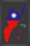 Mapa de Taidong Taiwan com ilustração taiwanesa da bandeira nacional Foto de Stock Royalty Free