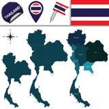 Mapa de Tailândia com regiões Fotografia de Stock
