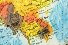 Mapa de Tailândia, de Vietname e de Laos Imagem do Close-up imagens de stock royalty free