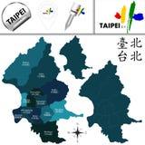 Mapa de Taipei, Taiwan com distritos ilustração stock