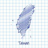 Mapa de Taiwán, fondo azul del extracto del bosquejo ilustración del vector