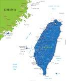 Mapa de Taiwan Imagens de Stock Royalty Free