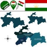 Mapa de Tajiquistão com regiões Foto de Stock