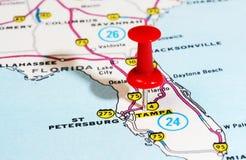 Mapa de Tampa Florida EUA Fotos de Stock Royalty Free