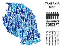 Mapa de Tanzania del Demographics stock de ilustración