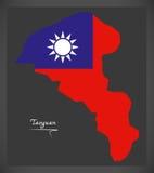 Mapa de Taoyuan Taiwan com ilustração taiwanesa da bandeira nacional Foto de Stock