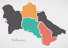 Mapa de Turkmenistán con los estados y las formas redondas modernas Imagen de archivo