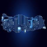 Mapa de Turquía con el circuito electrónico libre illustration