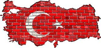 Mapa de Turquía en una pared de ladrillo Fotografía de archivo libre de regalías