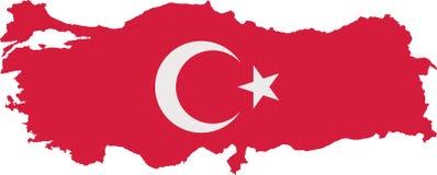 Mapa de Turquia com a bandeira com duas cores ilustração do vetor
