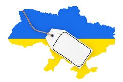 Mapa de Ucrânia com bandeira e a etiqueta vazia branca da venda do modelo rendição 3d ilustração do vetor