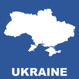 Mapa de Ucrania en fondo azul Imágenes de archivo libres de regalías