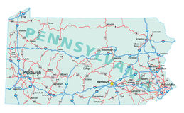 Mapa de um estado a outro de Pensilvânia Fotografia de Stock Royalty Free