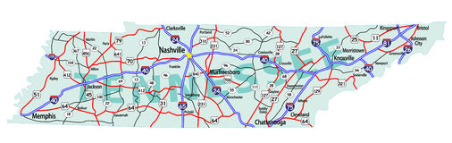 Mapa de um estado a outro do estado de Tennessee Foto de Stock