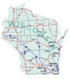 Mapa de um estado a outro do estado de Wisconsin Imagem de Stock