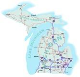 Mapa de um estado a outro do estado do Michigan Foto de Stock Royalty Free