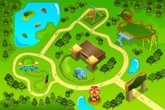 Mapa de um parque temático do divertimento Fotos de Stock Royalty Free