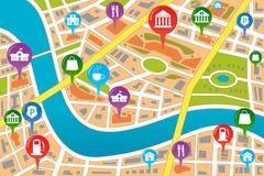 Mapa de uma cidade no estilo de GPS Foto de Stock Royalty Free