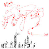 mapa de un child& x27; textura inconsútil del vector de los dibujos de s Foto de archivo