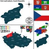 Mapa de Usti nad Labem, República Checa Foto de Stock Royalty Free