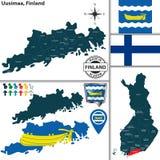 Mapa de Uusimaa, Finlandia Foto de Stock Royalty Free